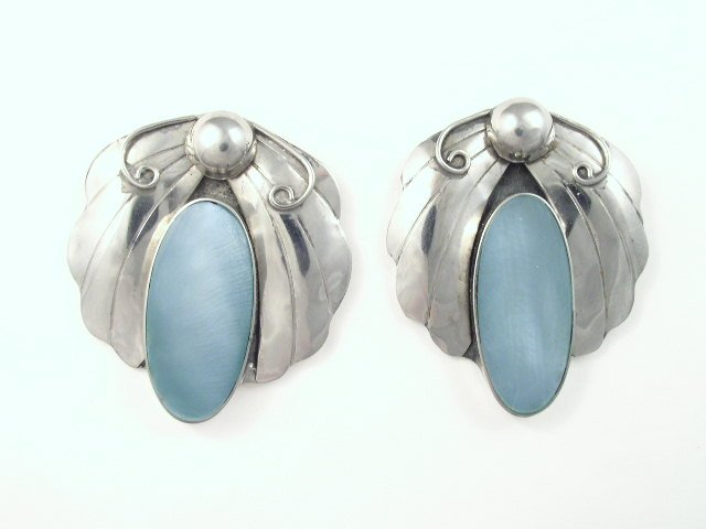 Vintage Egyptian Revival Silver Tone Blue Glass Earrings