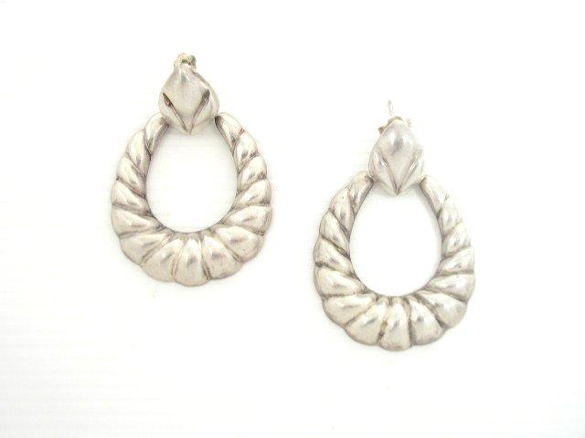 Vintage 925 Silver Rope Loop Pierced Earrings