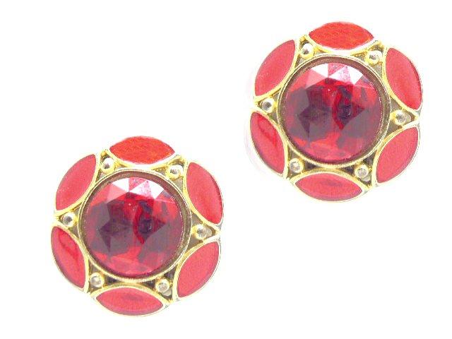Vintage Lipstick Red Rhinestone Gold Tone Earrings Clip