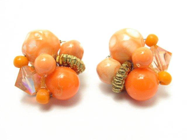 Vintage Orange & White Art Glass Bead Earrings
