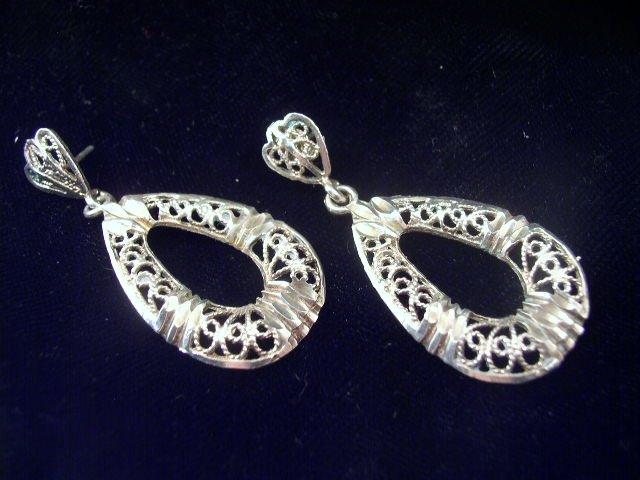 Vintage Dangling Sterling Silver Filigree Loop Earrings