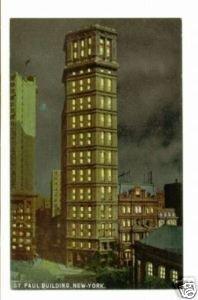 St. Paul Building by Night New York c.1910 Postcard