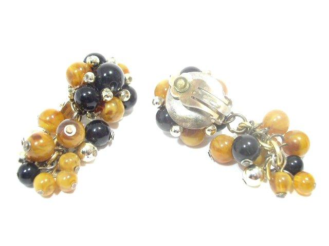 Vintage Black & Gold Tone Dangling Bead Earrings Clip