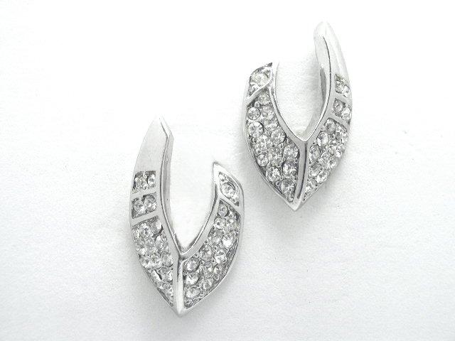 Mid Century Silver Tone Rhinestone Earrings Clip