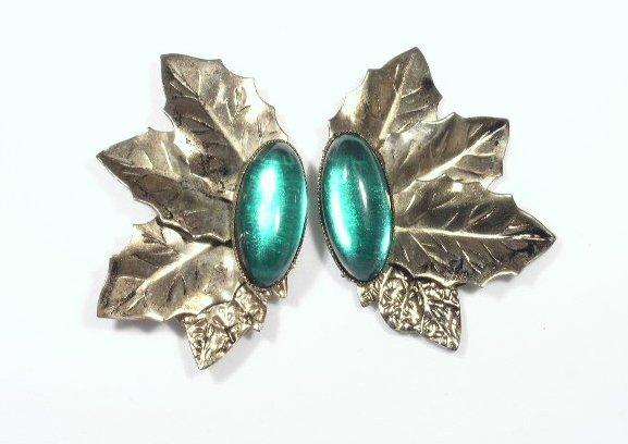 Vintage Green Rhinestone & Gold Tone Earrings Pierced