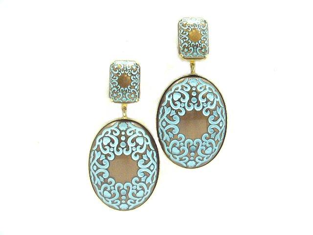 Vintage Ornate Enameled Pearlized Dangling Earrings Clip
