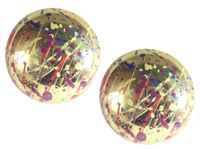 Large Splash Of Colors Golden Dome Earrings Pierced