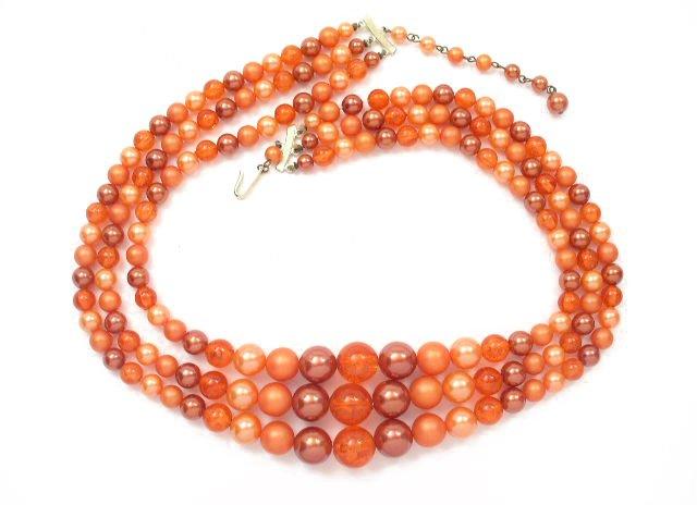 Long Orange Glass & Plastic 3 Strand Necklace Japan