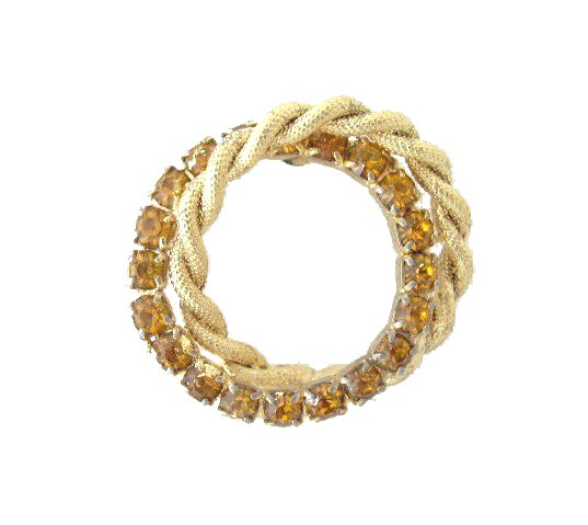 Gold Tone Topaz Rhinestone Double Circle Brooch