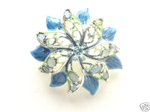 Vtg Green & Blue Enameled Rhinestone Brooch
