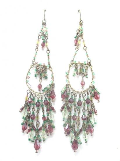 Long Green & Ruby Red Crystal Bead Dangling Earrings