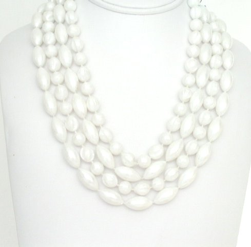 Ornate 4 Strand White Pearlized Plastic Bead Necklace