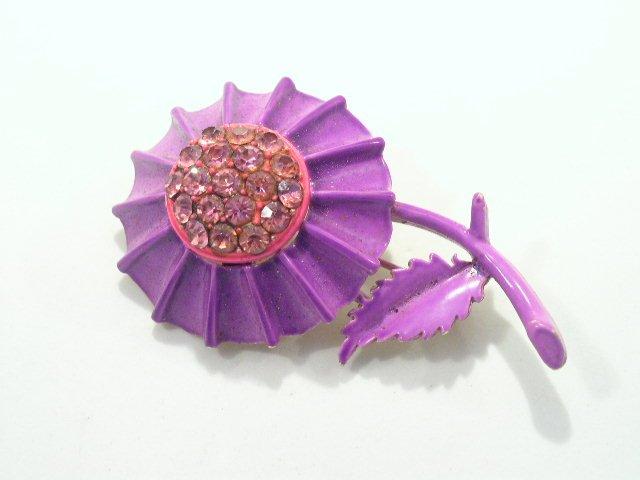 Vtg Purple & Hot Pink Enameled Rhinestone Brooch