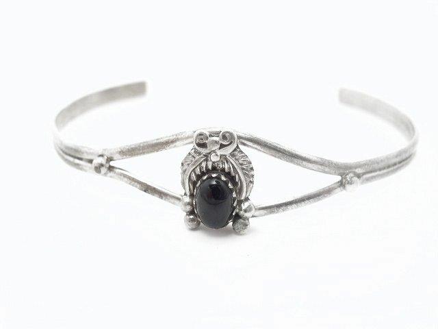 Vtg Sterling Silver Obsidian Southwestern Bracelet