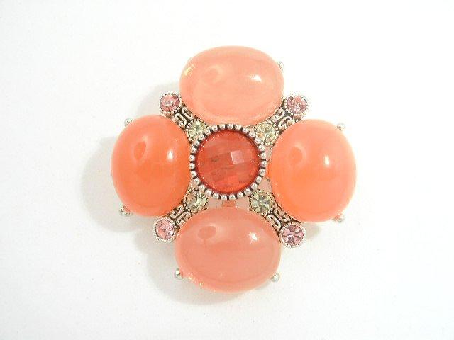 Vintage Peach Pink & Yellow Lucite & Rhinestone Brooch
