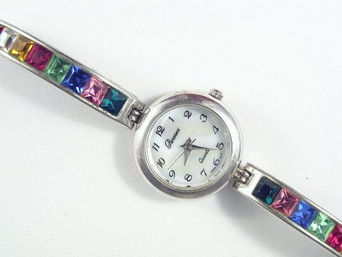 Vintage Parmex Rhinestone Ladies Fashion Wristwatch