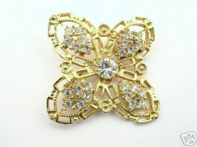 Ornate Filigree Gold-tone & Rhinestone Brooch