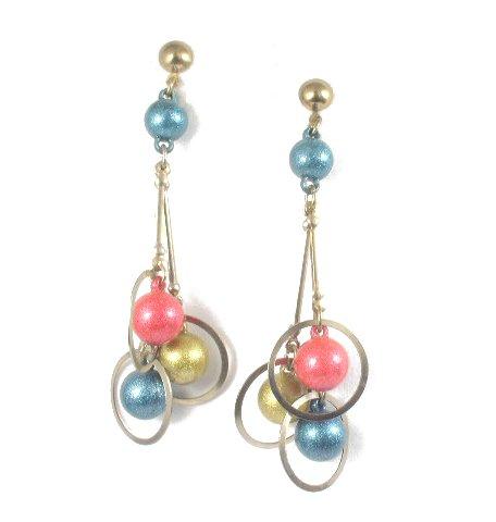 Space Age Gold-tone Dangling Bead Earrings