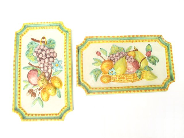 Pr Italian Hand Made Faience Terra Cotta Fruit Plaques
