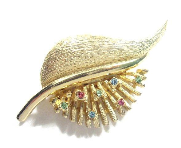 Vtg Gold Tone & Pastel Rhinestone Feather Brooch - Pell