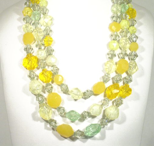 Vtg Sparkling Lucite Bead Necklace Earrings Hong Kong