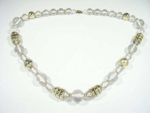 Vtg Mid Century Modern Clear Lucite Gold Tone Necklace