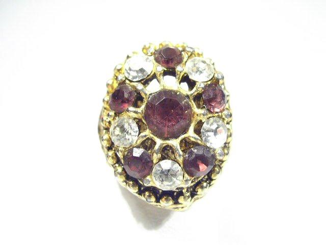 Vtg Amethyst Purple Rhinestone Cocktail Fashion Ring