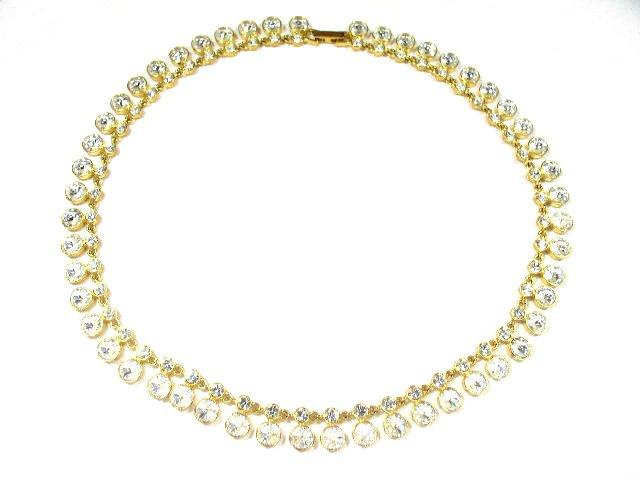 Vintage Gold Tone Diamante Rhinestone Fringe Necklace