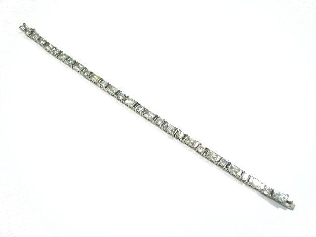 Deco Era Diamante Rhinestone Sterling Silver Bracelet