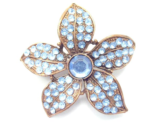 Vintage Copper Tone Blue Rhinestone Flower Brooch