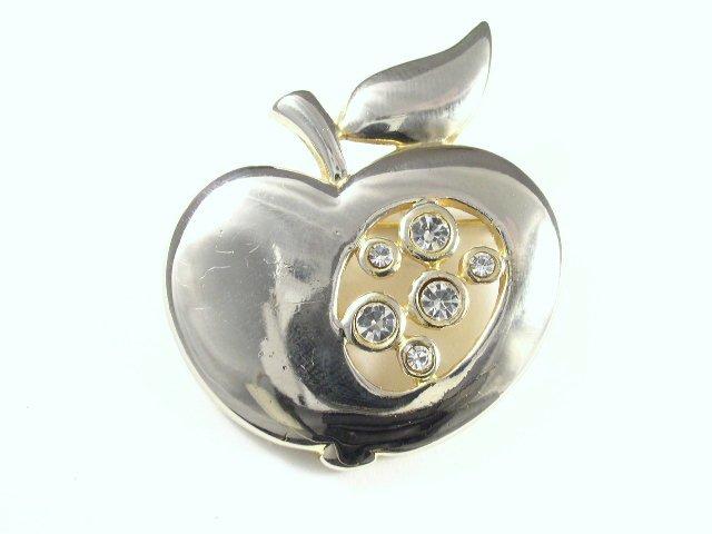 Vtg Rhinestone & Gold Tone Metal Apple Brooch