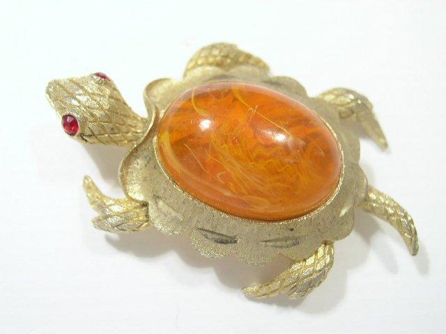 Vintage Swirled Plastic & Gold Tone Turtle Brooch
