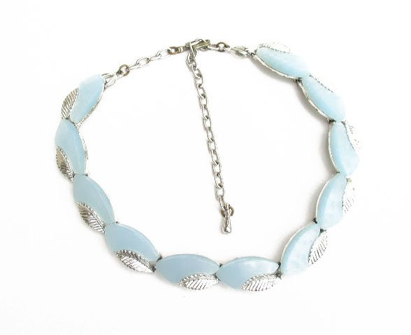Silver Tone Baby Blue Moonglow Plastic Necklace 1950s