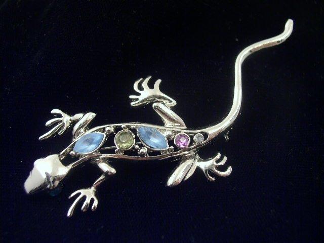 Vintage Silver Tone Rhinestone Gecko Brooch