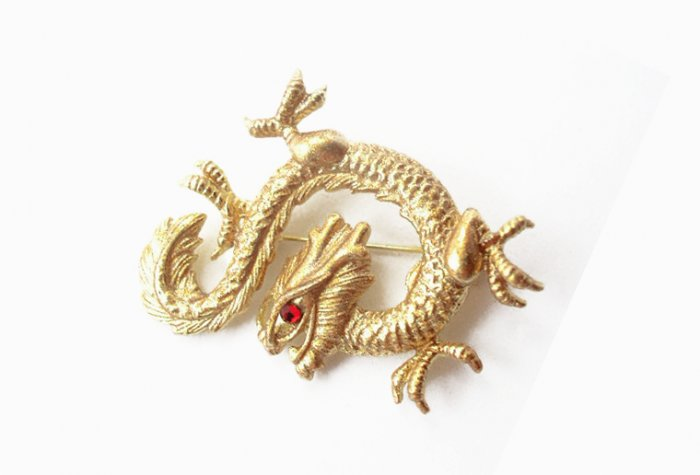 Vintage Large Golden Red Rhinestone Dragon Brooch