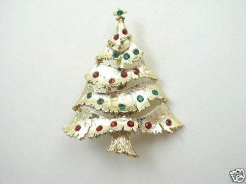 Lg Vintage Gold Tone Rhinestone Christmas Tree Brooch