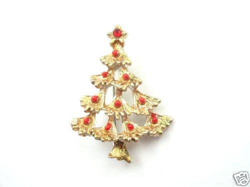 Vtg Gold Tone Enamel Rhinestone Christmas Tree Brooch