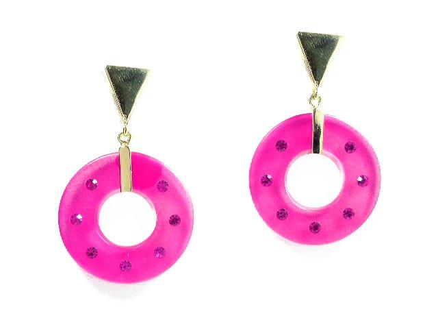 Raspberry Lucite Plastic Glass Rhinestone Earrings