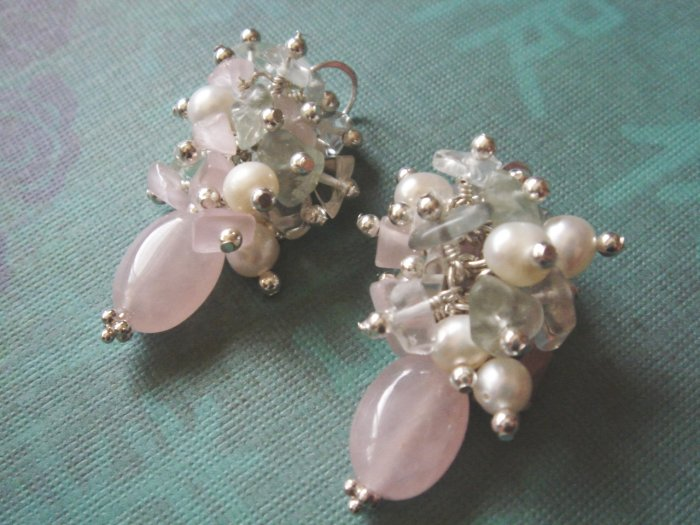 Freshwater Pearl, Rose Quartz and Fluorite Sterling Silver Earrings
