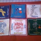 SUPPORT OUR TROOPS HANDMADE EMBROIDERED FELT 6 PIECE COASTER SET WITH CAMOFLAUGE  HOLDER