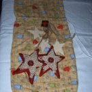 CHRISTMAS WINE BOTTLE BAG WITH DECORATED STAR EMBELLISHMENTS FLANNEL MITTEN PRINT FABRIC
