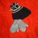 HANDMADE KNITTED GRAY AND BLACK HAT WITH MATCHING MITTENS