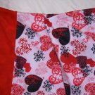 HANDMADE FLANNEL HEARTS PRINT PILLOWCASE STANDARD SIZE WITH RED FLANNEL  EDGE