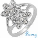 Floral Diamond Studded White Gold Ring