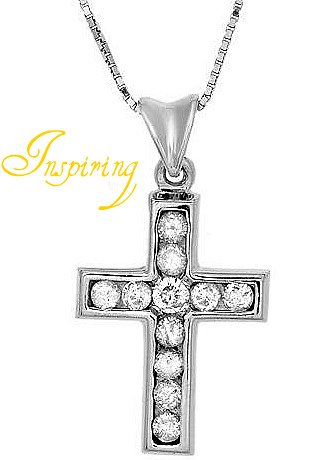 Wonderful Cross Necklace With Genuine Diamonds in 14K White Gold