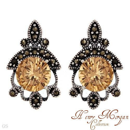 Sterling Silver Earrings With 11.60ctw Marcasites and Cubic zirconia