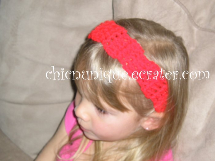 """Crochet *Real Red* Headband *compatible for clips* Fits 16""""-22"""""""
