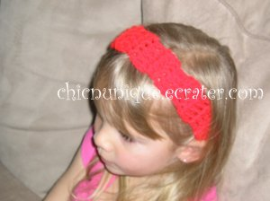 "Crochet *Real Red* Headband *compatible for clips* Fits 16""-22"""