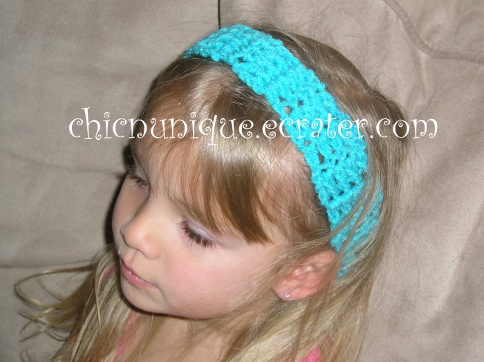 "Crochet *Turquoise Blue* Headband *compatible for clips* Fits 16""-22"""