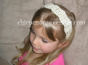 "Crochet *Cream* Headband *compatible for clips* Fits 16""-22"""